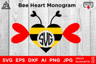 Print on Demand: Bee Heart Monogram Graphic Crafts By davidrockdesign