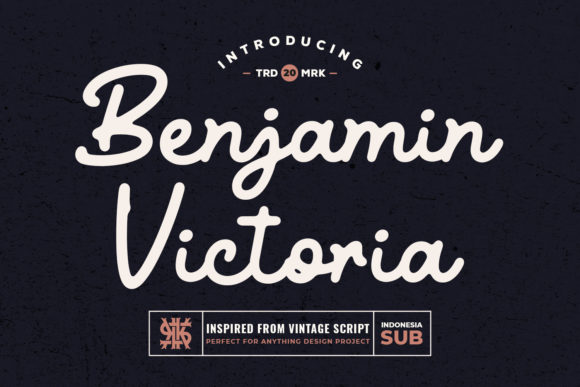 Print on Demand: Benjamin Victoria Script & Handwritten Font By Kotak Kuning Studio