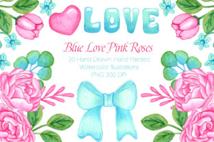 Blue Love Watercolor Clip Art Set Graphic Landing Page Templates By Isis Escobar Salcedo