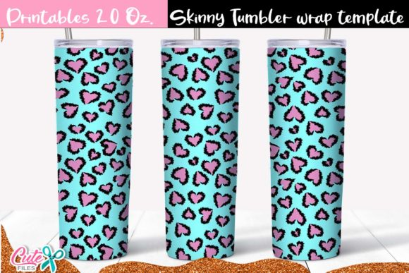 Blue Leopard Skinny Tumbler Wrap Graphic Print Templates By Cute files