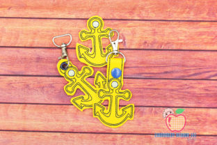 Boat Anchor Keyfob Keychain ITH Beach & Nautical Embroidery Design By embroiderydesigns101