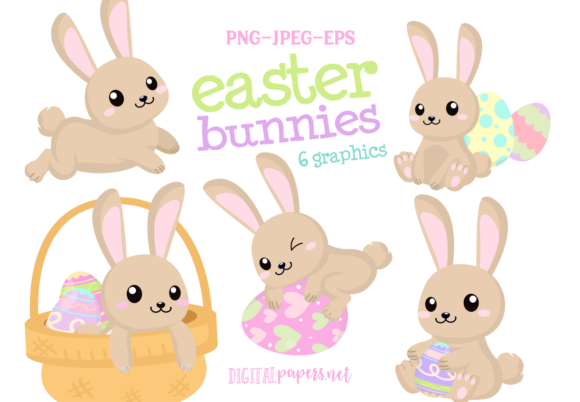 Print on Demand: Brown Easter Bunnies Clipart Set Graphic Illustrations By DigitalPapers