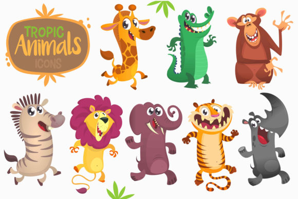 Cartoon African Animals. Vector Set Graphic Illustrations By drawkman