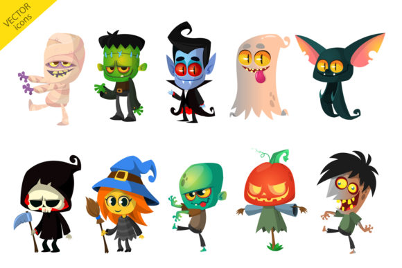 Cartoon Halloween Vector Characters Grafik Illustrationen von drawkman