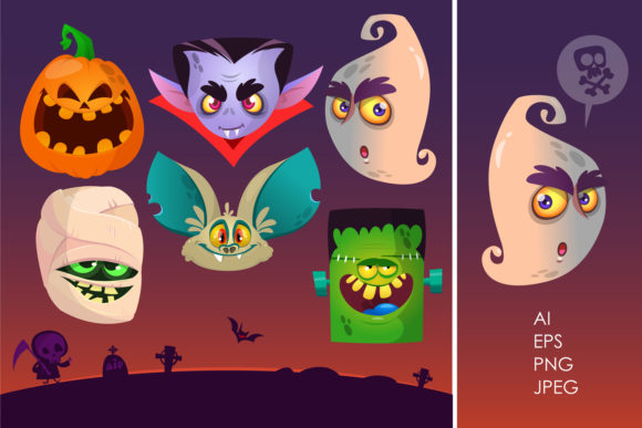 Cartoon Halloween Vector Characters Graphic Illustrations By drawkman