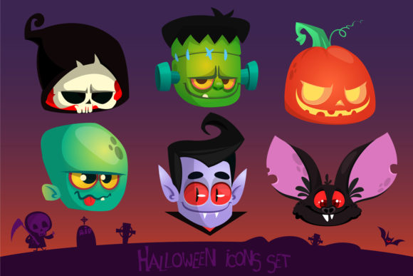 Cartoon Halloween Vector Icons Graphic Illustrations By drawkman