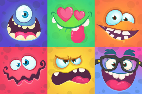 Cartoon Monsters Faces Set Vector Grafik Illustrationen von drawkman