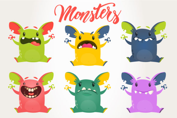 Cartoon Monsters Set Vector Illustration Grafik Illustrationen von drawkman