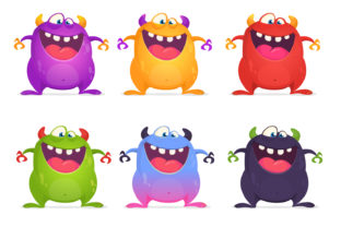 Cartoon Monsters Set Vector Illustration Graphic Illustrations By drawkman
