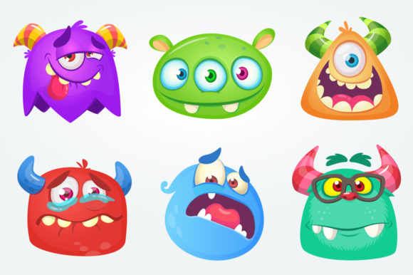 Cartoon Monsters Set Vector Illustration Gráfico Ilustraciones Por drawkman