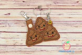 Cartoon Poop in the Hoop Keyfob Backgrounds Embroidery Design By embroiderydesigns101
