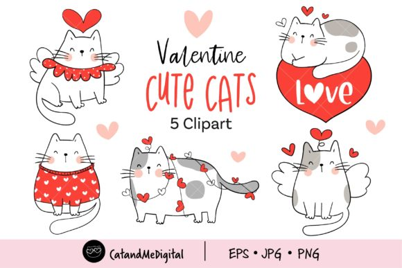 Cute Cat Valentine Day Clipart. Graphic Illustrations By CatAndMe