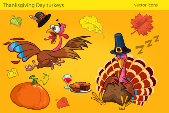 Cute Turkey Cartoon Characters Graphic Illustrations By drawkman