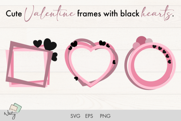 Print on Demand: Cute Valentine Frames with Black Hearts. Graphic Illustrations By artsbynaty