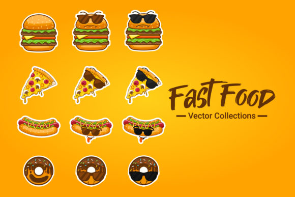 Cute Fast Food Character Vector Graphic Illustrations By depotvisual