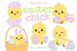 Print on Demand: Easter Chick Clipart Set Graphic Illustrations By DigitalPapers