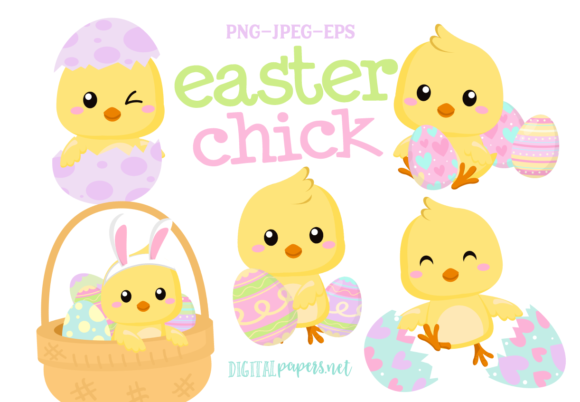 Print on Demand: Easter Chick Clipart Set Gráfico Ilustraciones Por DigitalPapers