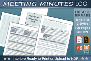 Print on Demand: Editable Meeting Minutes Log Graphic KDP Interiors By okdecoconcept