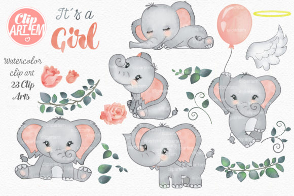 Elephant Girl Coral Watercolor 23 PNG Graphic