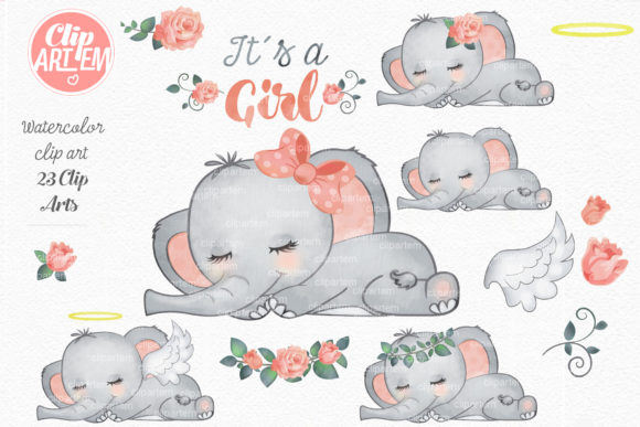 Elephant Girl Coral Watercolor 23 PNG Graphic Download