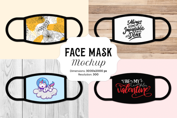 Print on Demand: Face Mask Mockup with 16 Bonus Images Graphic Product Mockups By Simply Swapnil