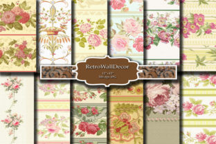 Print on Demand: Floral Digital Paper Graphic Backgrounds By retrowalldecor