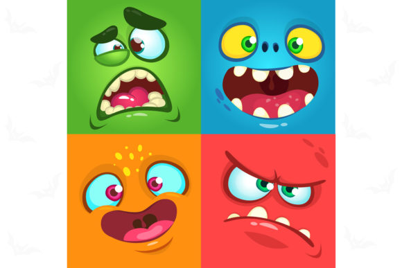 Funny Cartoon Monsters Face Avatar Set Graphic Illustrations By drawkman