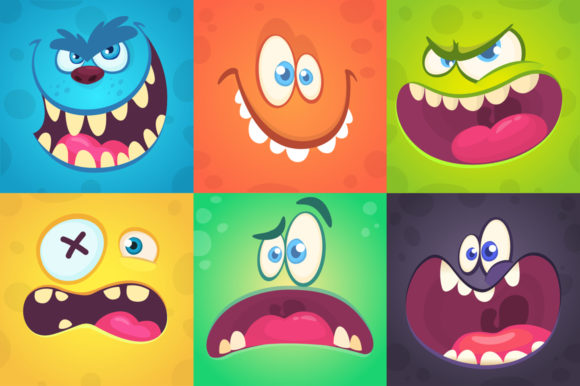 Funny Cartoon Monsters Face Avatar Set. Graphic Illustrations By drawkman