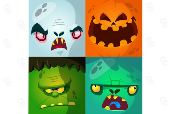 Funny Cartoon Monsters Face Avatars Set Graphic Illustrations By drawkman