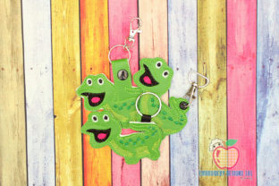 Funny Lizard Keyfob Keychain ITH Reptiles Embroidery Design By embroiderydesigns101