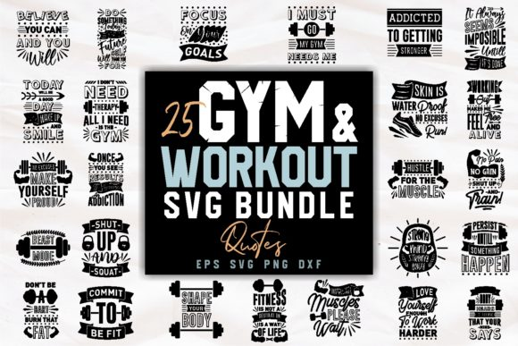 Print on Demand: Gym and Workout SVG Bundle Quotes Graphic Print Templates By Universtock