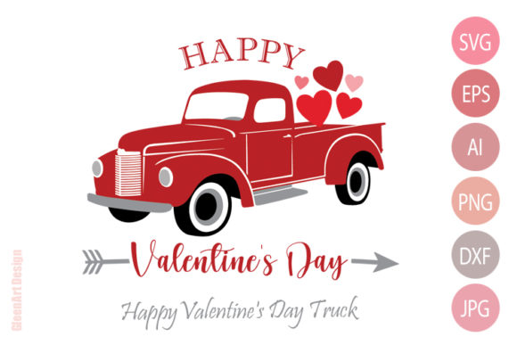 Happy Valentine's Day Truck with Hearts Graphic Illustrations By Gleenart Graphic Design