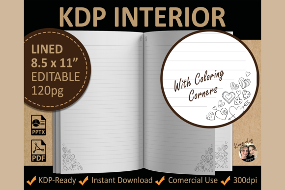 Hearts Valentine Lined Coloring Interior Graphic KDP Interiors By KermeliaDesigns