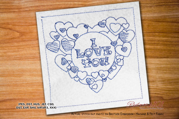 I Love You Heart Frame Lineart Valentine's Day Embroidery Design By Redwork101