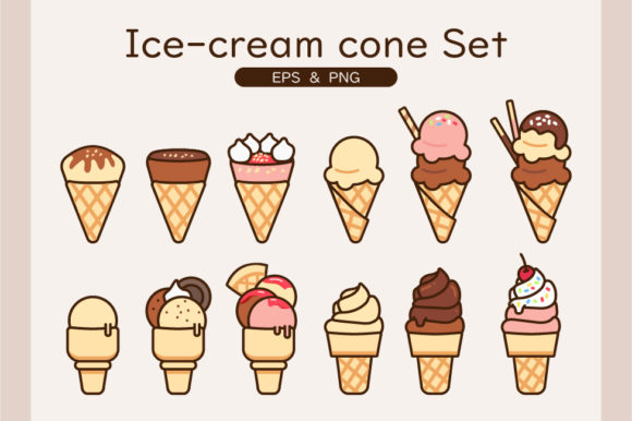 Ice-cream Cone Set with 3 Flavors Graphic Illustrations By cz.dreamwalker