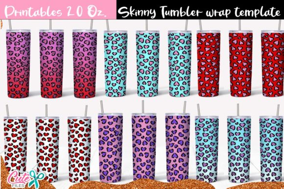 Leopard Valentines Day Skinny Tumbler Graphic Print Templates By Cute files
