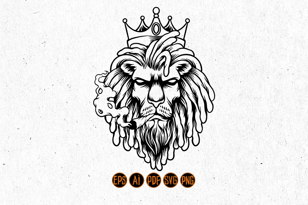 Lion King Smoked Weed Graphic Silhouette SVG File