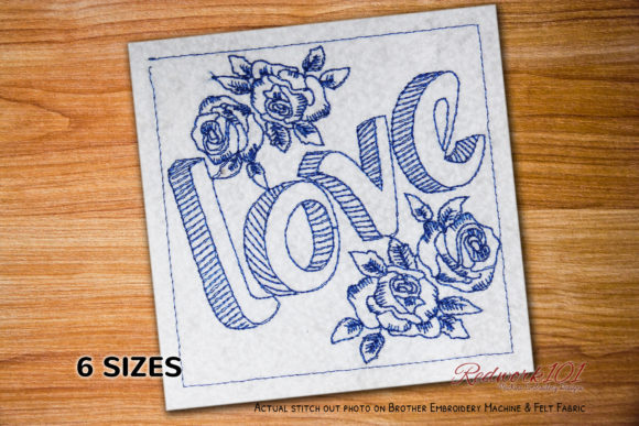 Love with 3d Flowers Valentine's Day Embroidery Design By Redwork101