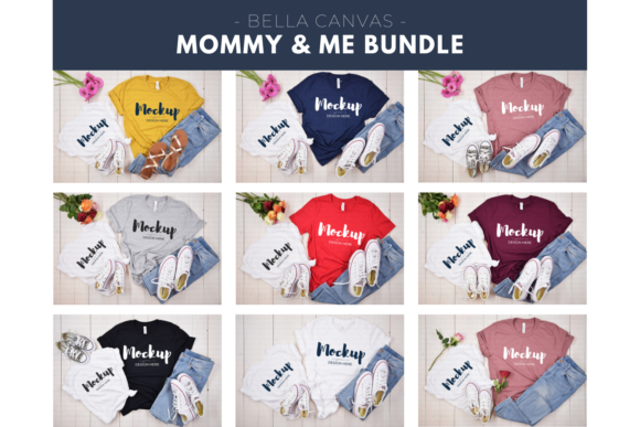 Mommy and Me T-Shirt Bundle Graphic Product Mockups By MyMockupStudio