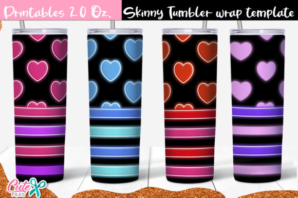 Neon Hearts 20 Oz. Skinny Tumbler Bundle Graphic Print Templates By Cute files