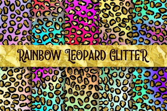 Rainbow Leopard Glitter Digital Papers Graphic Backgrounds By PinkPearly