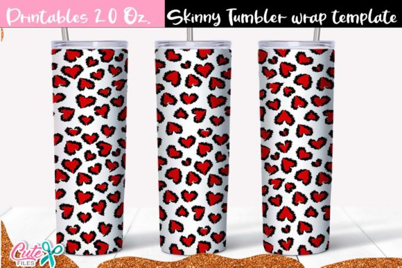 Red Heart Leopard Skinny Tumbler Wrap Graphic Print Templates By Cute files