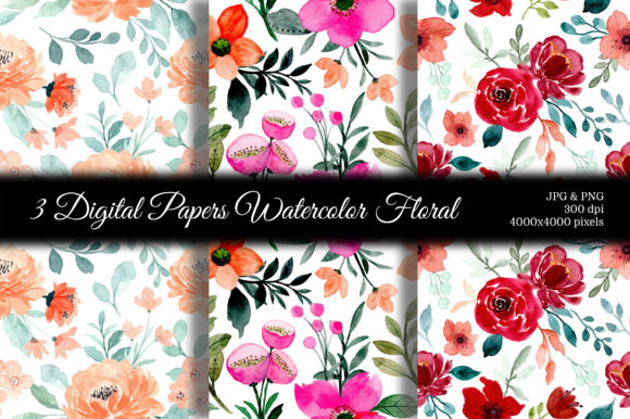 Print on Demand: Seamless Pattern Floral Watercolor 123 Graphic Patterns By asrulaqroni