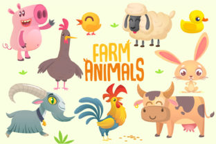 Set of Cartoon Farm Animals Graphic Illustrations By drawkman