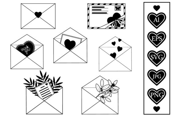 Print on Demand: Set of Decorated Envelopes Black Contour Graphic Crafts By lesinka