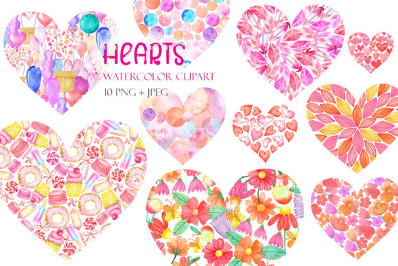 Print on Demand: Set of Watercolor Hearts Clipart Graphic Illustrations By TanyaPrintDesign