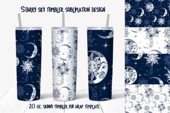 Starry Sky Design. Skinny Tumbler Wrap Graphic Print Templates By grigaola