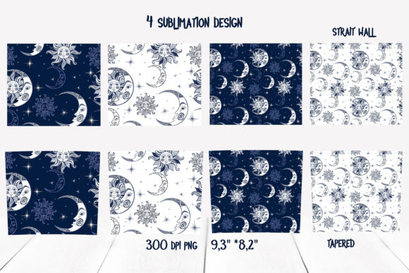 Starry Sky Design. Skinny Tumbler Wrap Graphic Download