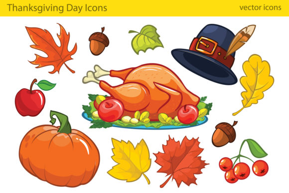 Thanksgiving Decorative Elements Cartoon Graphic Illustrations By drawkman