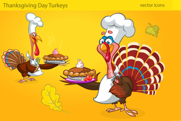 Thanksgiving Turkey Characters Cartoon Graphic Illustrations By drawkman